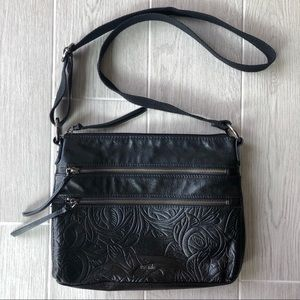 The Sak black leather Reseda crossbody embossed